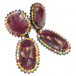 Stunning Large Authentic Kashmir Ruby black rhodium over .925 Sterling Silver handcrafted stud earrings