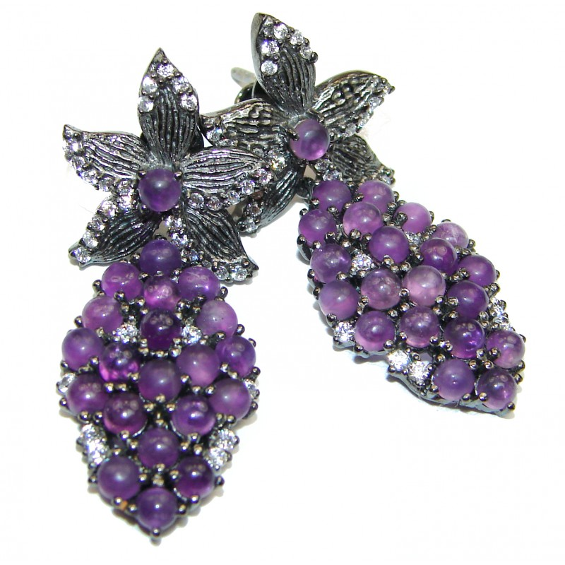 Nature Inspired Authentic Amethyst .925 Sterling Silver handmade earrings