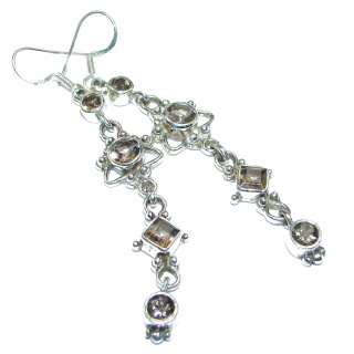 Mystic Smoky Quartz .925 Sterling Silver long earrings