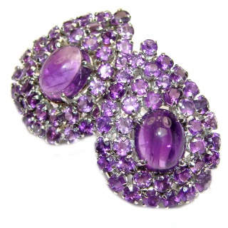 Miriam Spectacular Large Authentic Amethyst black rhodium over .925 Sterling Silver handmade earrings