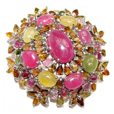 Vintage style Beauty genuine Ruby Tourmaline .925 Sterling Silver handmade LARGE Pendant - Brooch
