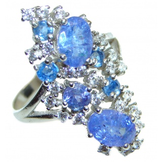 Sublime AUTHENTIC Tanzanite .925 Sterling Silver handmade Ring size 7