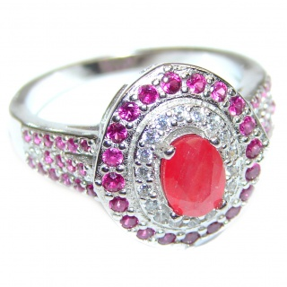 Amazing Color Ruby .925 Sterling Silver handcrafted Statement Ring size 8