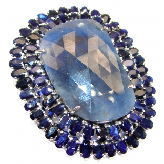 Large genuine Sapphire .925 Sterling Silver handmade Pendant - Brooch