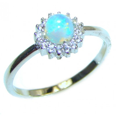 Fancy Ethiopian Opal .925 Sterling Silver handcrafted ring size 8