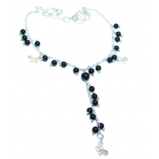 White and Black Onyx a .925 Sterling Silver handcrafted Necklace
