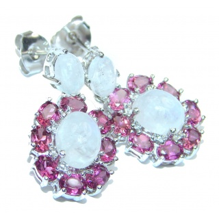 Angelica Rainbow Moonstone Garnet .925 Sterling Silver handcrafted stud earrings