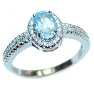 Splendid genuine Aquamarine .925 Sterling Silver Ring size 8