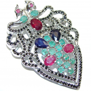 Large genuine Kashmir Ruby Emerald Sapphire .925 Sterling Silver handmade Pendant - Brooch