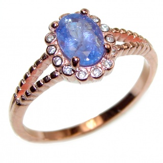 Genuine Sapphire .925 Sterling Silver handcrafted Statement Ring size 7