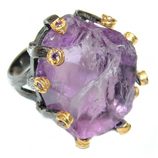 Jumbo Vintage Style Rough Amethyst .925 Sterling Silver handmade Cocktail Ring s. 7