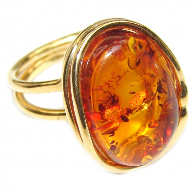 Excellent Vintage Design Baltic Amber 14K Gold over .925 Sterling Silver handcrafted Ring s. 7 adjustable