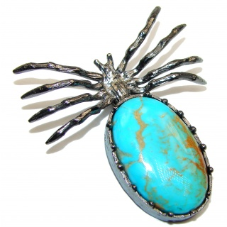 Incredible Spider Turquoise black rhodium over .925 Sterling Silver handmade Pendant