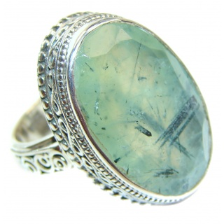 Sublime Moss Prehnite .925 Sterling Silver ring; s. 9