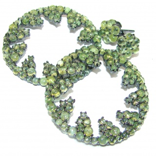 Rich Design Peridot black Rhodium over .925 Sterling Silver handcrafted Statement earrings