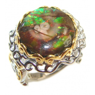 Outstanding Genuine Canadian Ammolite 18K Gold over .925 Sterling Silver handmade ring size 8 1/4