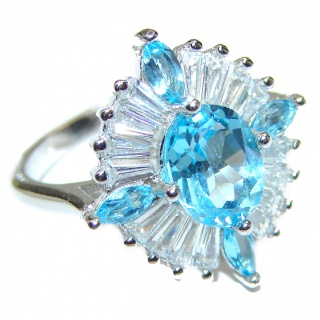 Melissa Genuine Swiss Blue Topaz .925 Sterling Silver handcrafted Statement Ring size 6 1/2