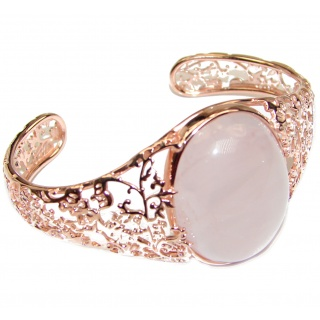 Incredible Genuine 85CTW Rose Quartz Rose quartz .925 Sterling Silver handcrafted Bracelet / Cuff