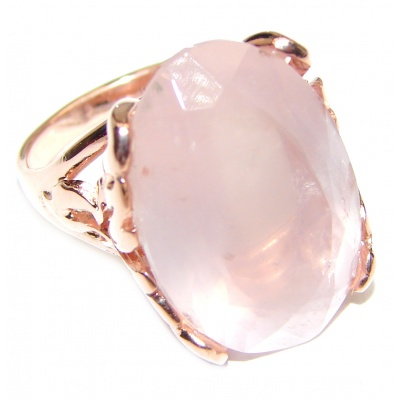Pear Cut 55ctw Rose Quartz Rose Gold over .925 Sterling Silver brilliantly handcrafted ring s. 7