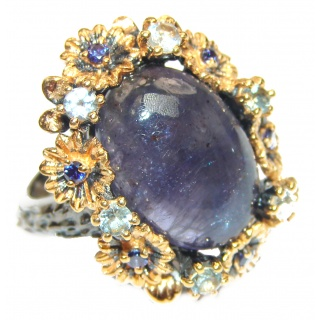 Chunky Authentic African Tanzanite 14K Gold over .925 Sterling Silver handmade Ring s. 7 1/4