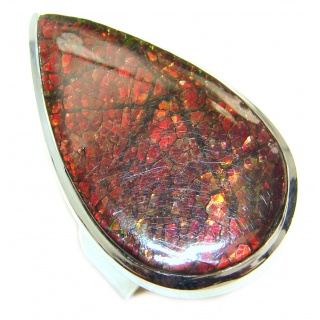 Genuine Canadian Ammolite .925 Sterling Silver handmade ring size 8