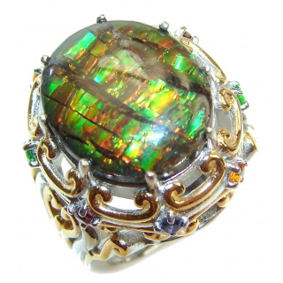 Outstanding Genuine Canadian Ammolite 18K Gold over .925 Sterling Silver handmade ring size 7