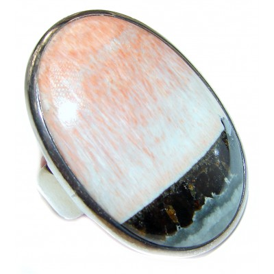 Huge Peachy Color Aventurine .925 Sterling Silver handcrafted Ring s. 8