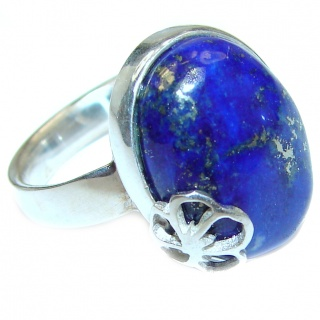 Natural Lapis Lazuli .925 Sterling Silver handcrafted ring size 7 adjustable