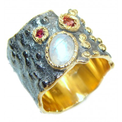 Fire Moonstone .925 Sterling Silver handmade ring s. 5 3/4