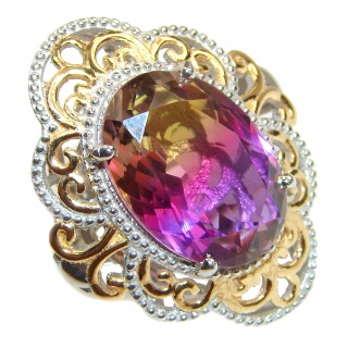HUGE Oval cut Ametrine 18K Gold over .925 Sterling Silver handcrafted Ring s. 7 1/2