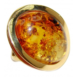 Excellent Vintage Design Baltic Amber 14K Gold over .925 Sterling Silver handcrafted Ring s. 8 adjustable