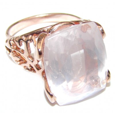 Princess Cut 15ctw Rose Quartz Rose Gold over .925 Sterling Silver brilliantly handcrafted ring s. 6 1/4