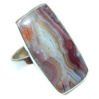 Excellent quality Crazy Lace Agate .925 Sterling Silver Ring s. 9