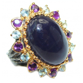 Chunky Authentic African Tanzanite 14K Gold over .925 Sterling Silver handmade Ring s. 8