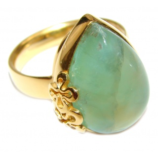 Sublime Moss Prehnite 14k Gold over .925 Sterling Silver ring; s. 8 adjustable