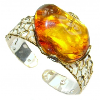 One of the kind genuine Baltic Sea Amber 14K Gold over .925 Sterling Silver handmade Bracelet / Cuff