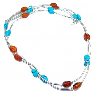 Natural Polish Amber Turquoise .925 Sterling Silver handcrafted necklace
