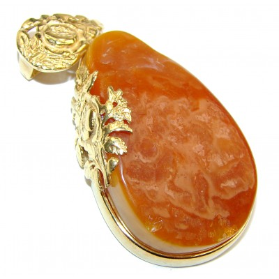 Natural Honey color Baltic Butterscotch Amber 18K Gold over .925 Sterling Silver handmade Pendant