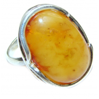 Excellent Vintage Design Baltic Amber .925 Sterling Silver handcrafted Ring s. 8 3/4