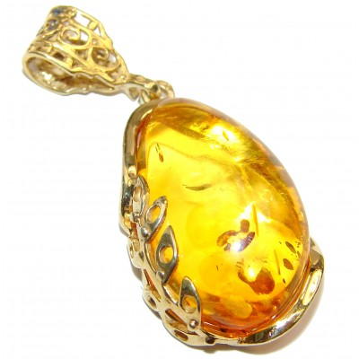 Natural Honey color Baltic Amber 18K Gold over .925 Sterling Silver handmade Pendant