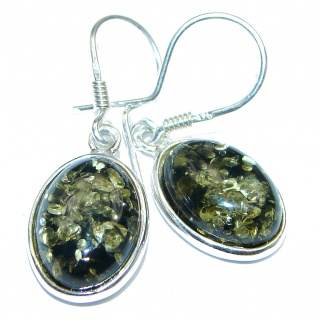 Green Baltic Polish Amber .925 Sterling Silver earrings