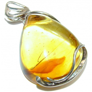 Bold Natural Baltic Sea Amber .925 Sterling Silver handmade HUGE Pendant