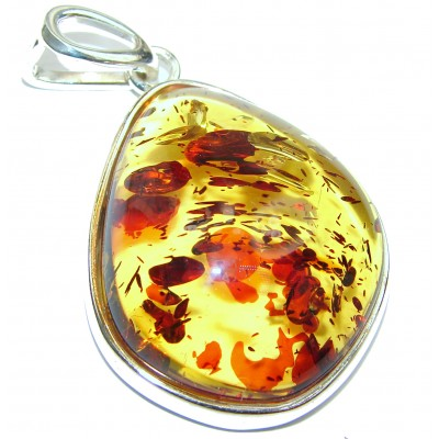 Huge Natural Baltic Honey Amber .925 Sterling Silver handmade Pendant