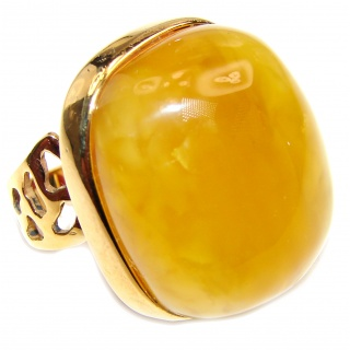 HUGE Genuine Butterscotch Baltic Amber 18K Gold over .925 Sterling Silver handmade Ring size 8 adjustable
