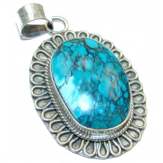 Incredible Spider Web Turquoise .925 Sterling Silver handmade Pendant