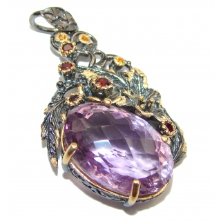Amazing Amethyst 14K Gold over .925 Sterling Silver handcrafted pendant