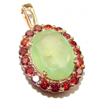Beautiful genuine Prehnite 14K Gold over .925 Sterling Silver handcrafted Pendant-