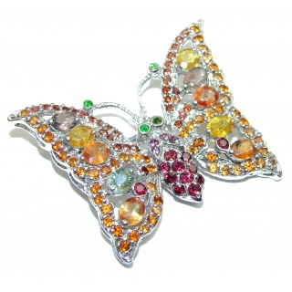 Butterfly authentic Sapphire .925 Sterling Silver handmade Pendant Brooch