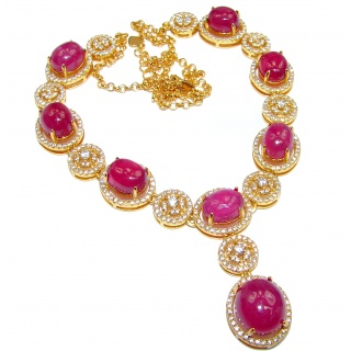 Spectacular Authentic Kashmir Ruby 14K Gold over .925 Sterling Silver handmade necklace