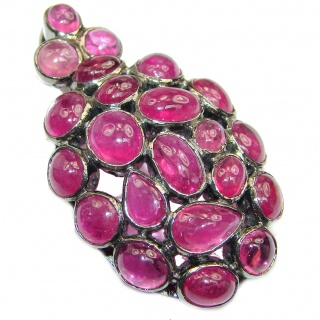Large genuine Ruby .925 Sterling Silver handmade Pendant - Brooch
